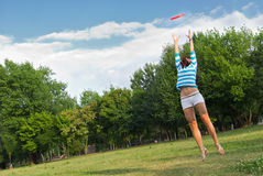 Young woman outdoor jumping Royalty Free Stock Images