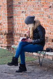 Young woman outdoor. Planning. The February stroll with a young woman Stock Photo