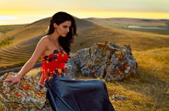 Young woman outdoor at sunset Royalty Free Stock Images