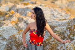 Young woman outdoor at sunset Royalty Free Stock Image