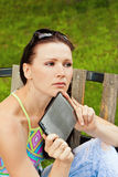 Young woman outdoor with tablet PC Royalty Free Stock Photos