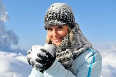 Young woman outdoor in winter Stock Images