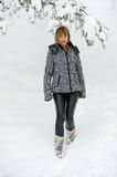 Young woman outdoor in winter enjoying the snow. Royalty Free Stock Photos