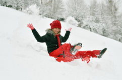 Young woman outdoor in winter enjoying the snow Royalty Free Stock Photo