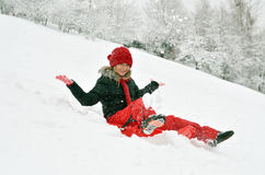 Young woman outdoor in winter enjoying the snow Royalty Free Stock Photography