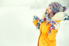 Young Woman Outdoor Winter Lifestyle Stock Photos