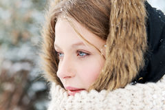 Young woman outdoor in the winter Royalty Free Stock Image