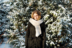 Young woman outdoor in the winter Stock Image