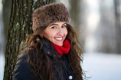 Young woman outdoor in the winter Stock Photos