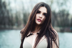 Young Woman in Outdoors. Beautiful Young Woman in Outdoors Royalty Free Stock Photos