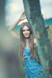 Young woman outdoors calm portrait Royalty Free Stock Photos