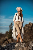Young woman outdoors fashion portrait Stock Photos