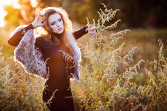 Young woman outdoors fashion portrait. Stock Images