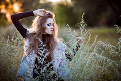 Young woman outdoors fashion portrait. Royalty Free Stock Photos