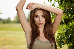 Young woman outdoors portrait. Royalty Free Stock Photos