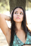 Young woman outdoors portrait bikini top oak tree Royalty Free Stock Photography