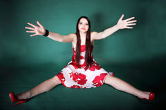 Young woman with outstretched arms Stock Images