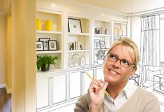 Blonde Woman Over Custom Built-in Shelves and Cabinets Design Drawing Gradating to Finished Photo. Young Woman Over Custom Built-in Shelves and Cabinets Design stock photography