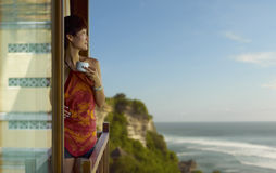 Young woman overlook the sea stock images