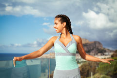 Young woman overlooking Mediterranean Sea Royalty Free Stock Images