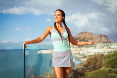 Young woman overlooking Mediterranean Sea Stock Photography