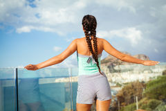 Young woman overlooking Mediterranean Sea Royalty Free Stock Image