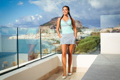 Young woman overlooking Mediterranean Sea Royalty Free Stock Photo