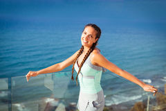 Young woman overlooking Mediterranean Sea Royalty Free Stock Photography