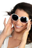 Young woman in oversized sunglasses Royalty Free Stock Photos