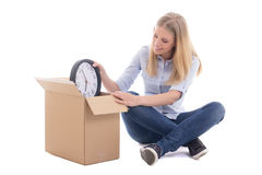 Young woman packing boxes and moving isolated on white. Background Stock Photo