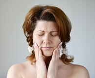 Young woman in pain is having   toothache Royalty Free Stock Photos