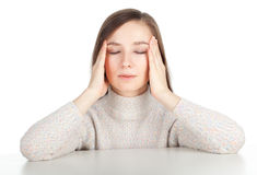 Young woman with pain, headache Stock Image