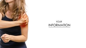 Young woman pain in shoulder pattern. On white background isolation stock photo