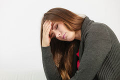 Young woman with painful headache Stock Photos