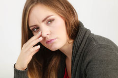 Young woman with painful headache Stock Images