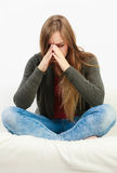 Young woman with painful sinus ache Stock Photo