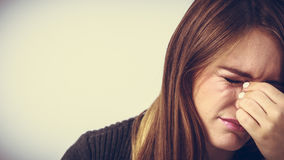Young woman with painful sinus ache Stock Images