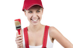 Young woman with paintbrush Royalty Free Stock Photography