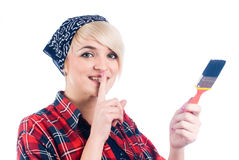Young woman with paintbrush Royalty Free Stock Photo