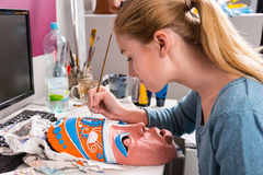 Young Woman Painting Clay Mask Royalty Free Stock Photo