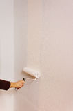 Young woman painting her home wall. Handmade Royalty Free Stock Photography