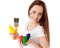 Young woman with paints and paintbrush. Stock Photography