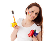 Young woman with paints and paintbrush. Stock Images