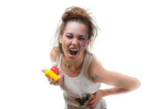 Young woman with  paints and paintbrushes. Royalty Free Stock Photos