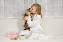 Young woman in pajamas Royalty Free Stock Images