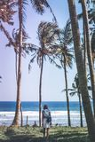Young woman among palms trees. Bali island. royalty free stock images