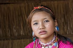 Palong Hill Tribe Woman, Northern Thailand. Young Woman from the Palong tribe with traditional Costume, Chiang Rai, Thailand, Asia stock image