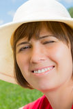 Young woman in panama hat Royalty Free Stock Images