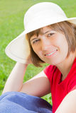 Young woman in panama hat Stock Photos