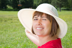 Young woman in panama hat Royalty Free Stock Photography